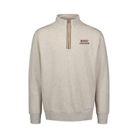 1/4 Zip Reed Embroidered Marled Oatmeal